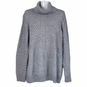 Orvis Wool Blend Cable Knit Sweater Turtleneck Gray XL